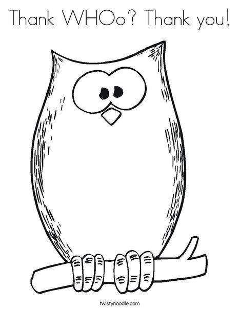 Thank WHOo Thank you Coloring Page - Twisty Noodle | Hazel | Owl ...