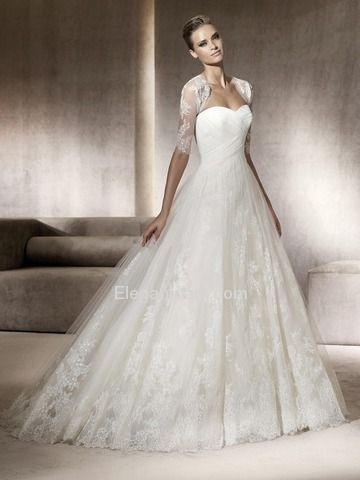 A-Line Babydoll Half Sleeve Sweetheart Netting Modern Wedding ...