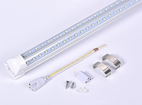 LUMINOSUM, 20-Pack, LED Tube Lights 8FT 65W, Double-side V-shape Integrated, AC85-265V SMD2835 Clear Cover Cool White 6000K, LED Cooler Door Lights