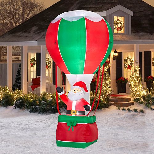 12 39 tall x 6 39 wide airblown santa in hot air balloon for Airblown decoration