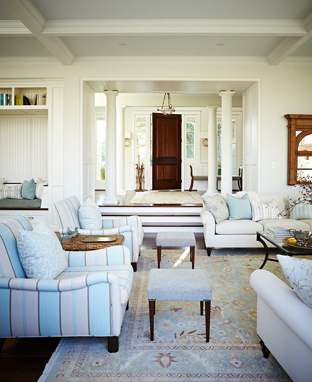 A New England Style House By Sarah Richardson Design New England Style Homes Interior Design Living Room Stools