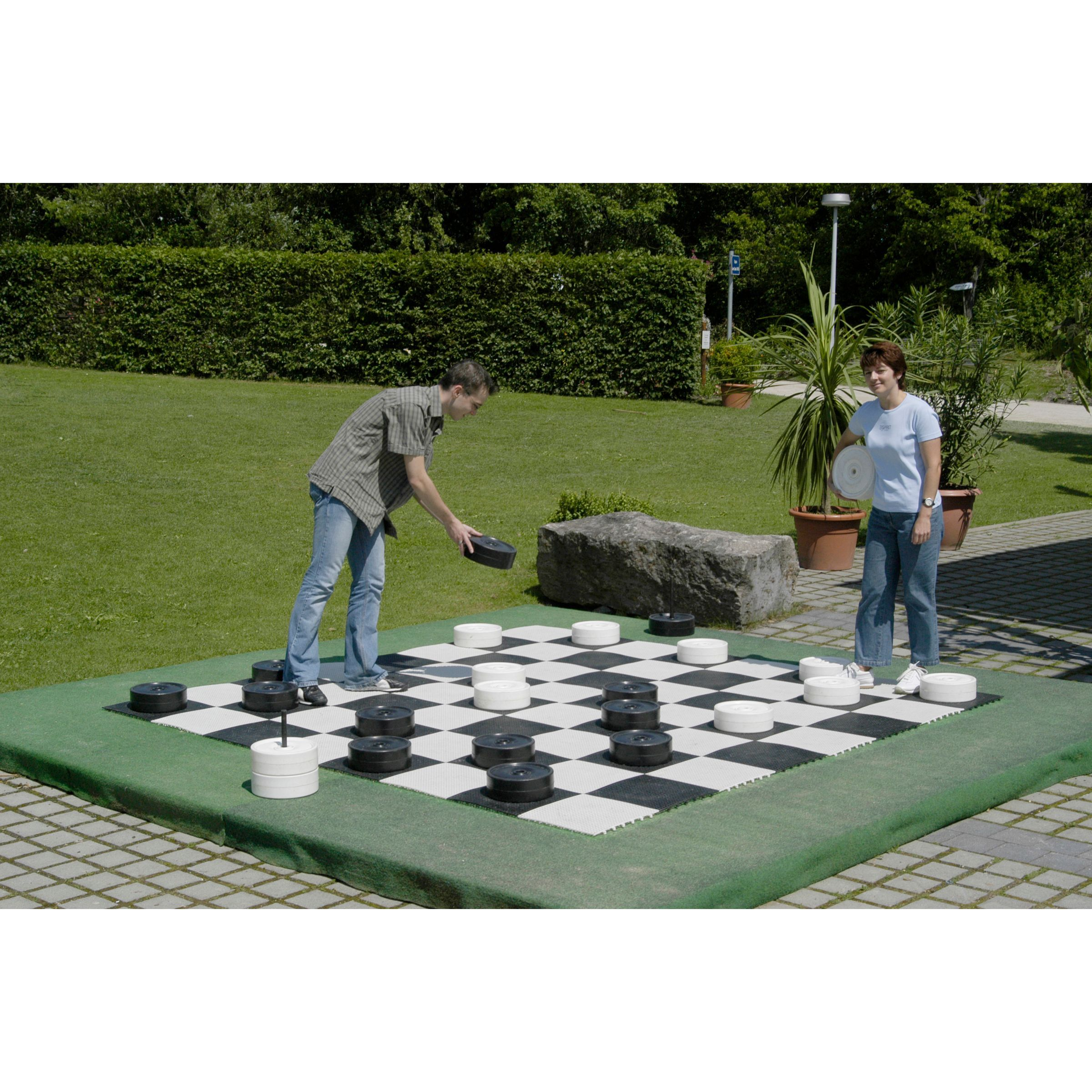 Sturdy yet lightweight and easy to assemble; perfect game for backyards, schools, recreation centers, country clubs, resorts, and campsdeal for indoor or outdoor play, constructed of tough all weather black and white resin,Checker/Chess pieces sold seperately