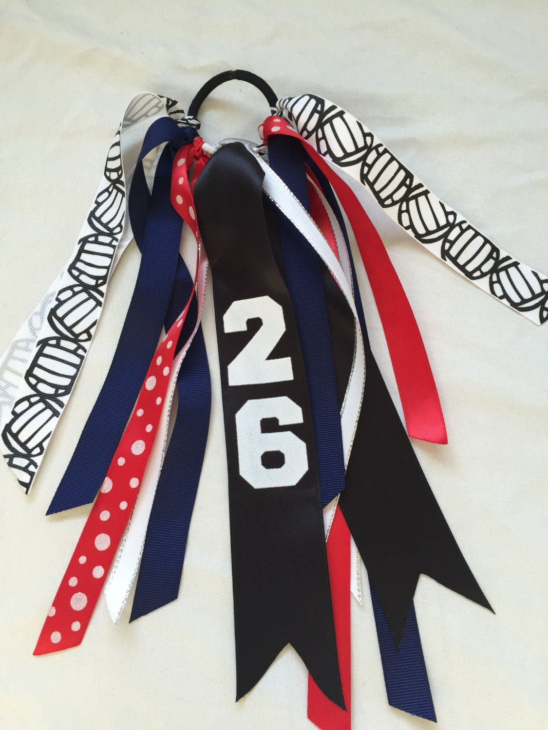 foto de Custom Red and Navy Volleyball Hair Bows Volleyball Hair