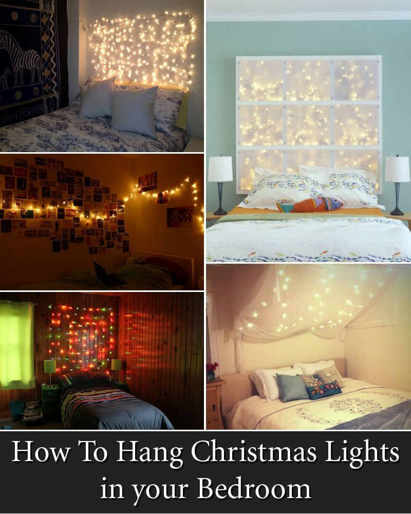 How To Hang Christmas Lights In Your Bedroom Christmaslightsideas Christmas Lights In Bedroom Bedroom Diy Bedroom Makeover