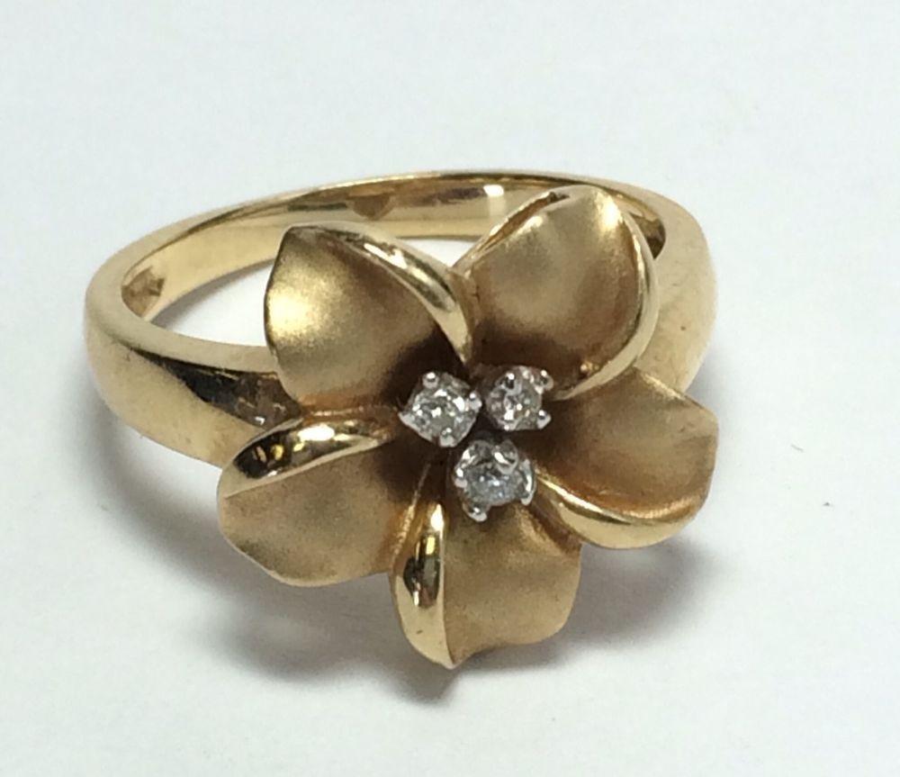 Vintage heavy 14k gold diamond hawaiian plumeria flower ring vintage heavy 14k gold diamond hawaiian plumeria flower ring 15tcw made by ua ua izmirmasajfo