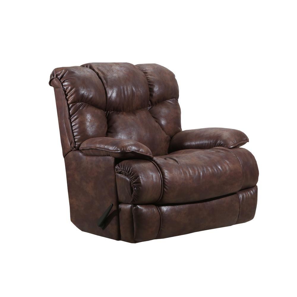 Lane Kane Saddle Medium Brown Leather Look Rocker Recliner Recliner Brown Leather Leather