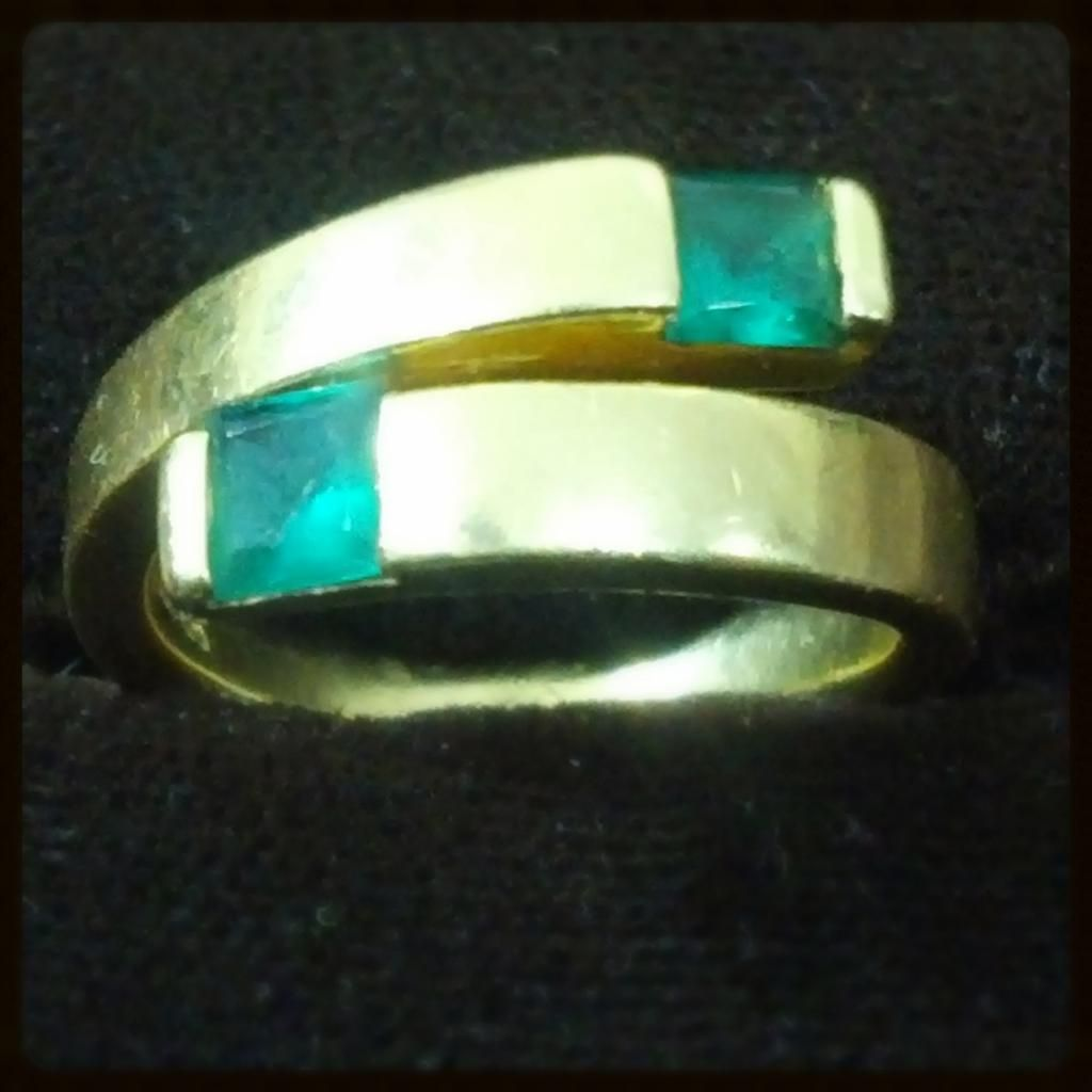 14abd2db3a9d82 A delightful vintage emerald two stone ring, semi bezel set in gold, USA  circa - elegant designed yellow gold ring is semi