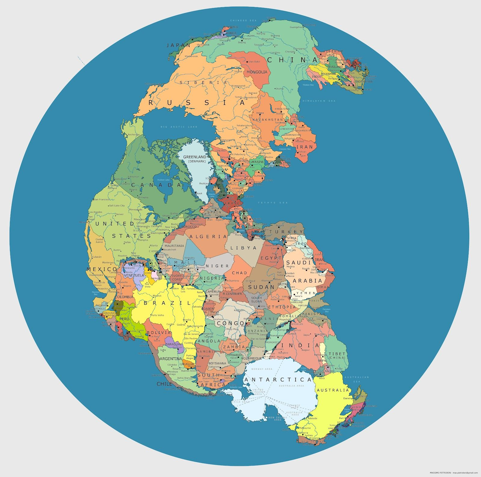 611  Our OneContinent World Pangea Political  Contemporary