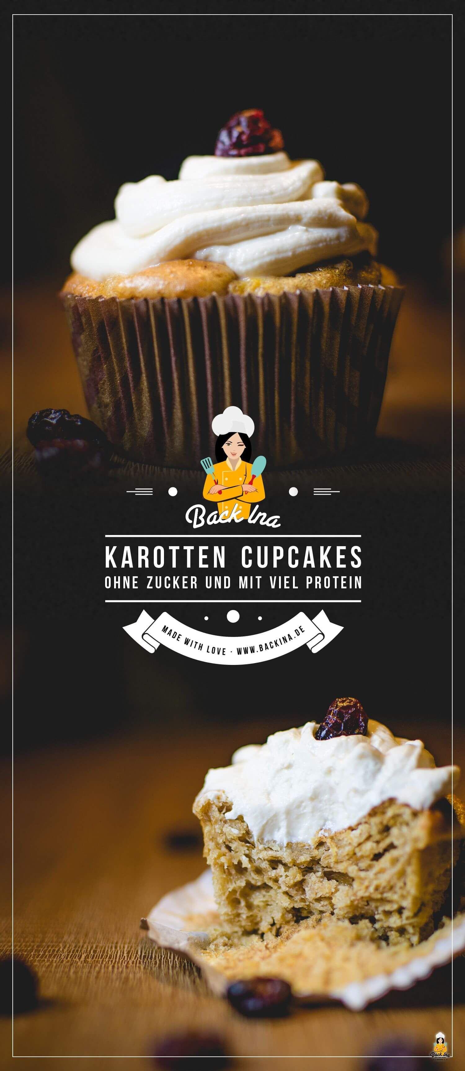 Protein Carrot Cake Cupcakes / Protein Möhren Cupcakes | BackIna.de