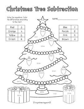 Christmas Tree Addition Subtraction Freebie Christmas Freebie Christmas Teaching Holiday Math