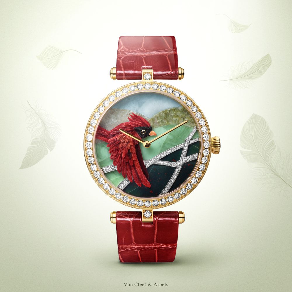 Watches&Wonders 2015 - The Poetry of Time™ by Van Cleef & Arpels. Lady Arpels Cardinal Carmin watch - yellow and white gold, diamonds, miniature feather art. A symbol of pure sentiments, the bird heralds a tender encounter against a blue sky of larimar.
