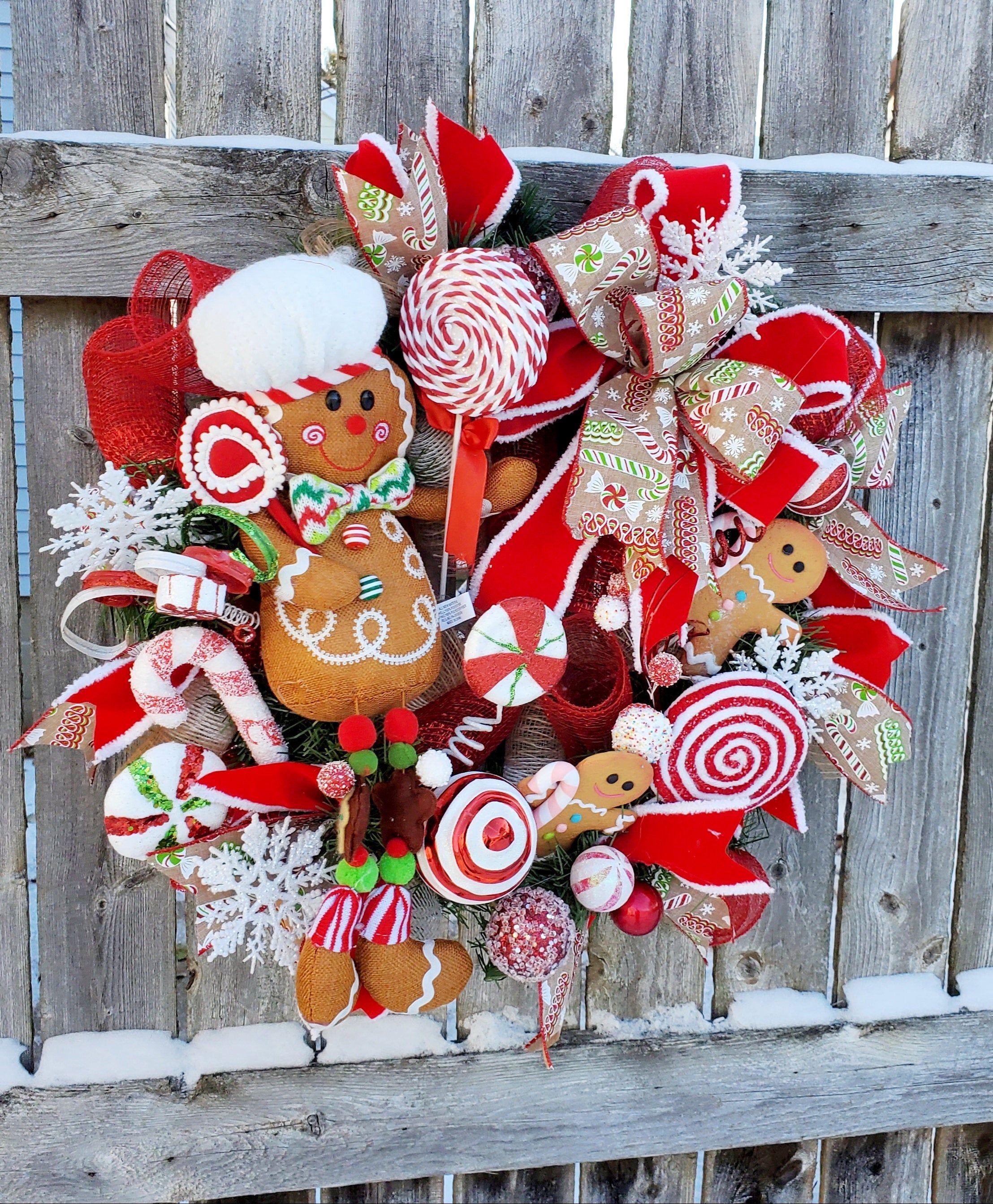 Sparkling Gingerbread Man Christmas Wreath Gingerbread Wreath Christmas Wreath Lollipop Wreath In 2020 Holiday Wreaths Christmas Door Decorations Christmas Wreaths