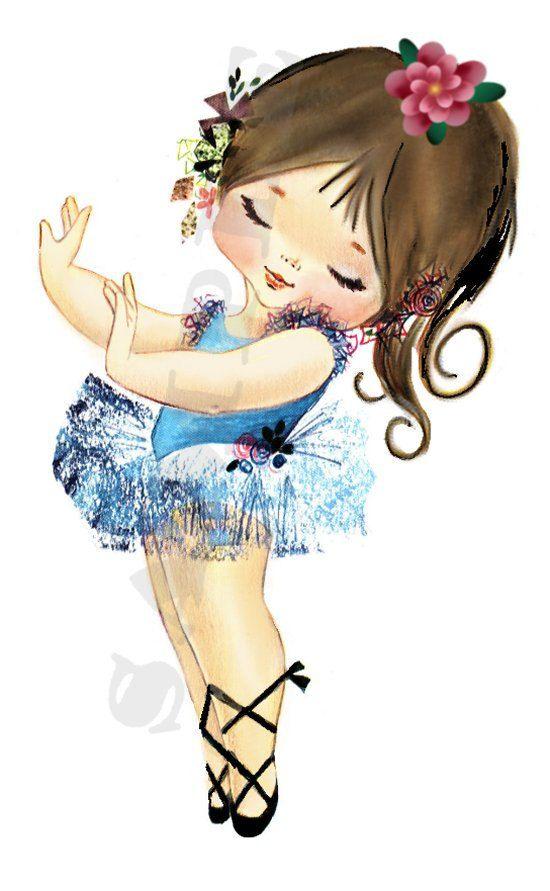Vintage Ballerina Brunette Girl, BG1 digital, download, printable, greeting card image. $2.00, via Etsy.
