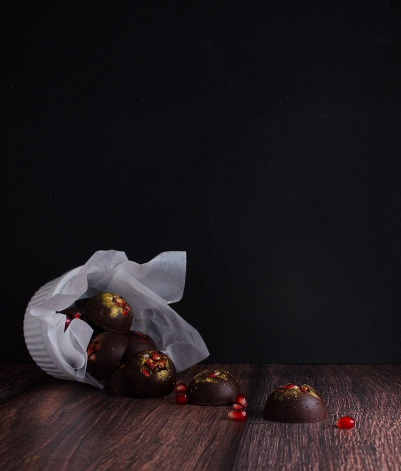 These easy, decadent pomegranate dark chocolates are the perfect last-minute addition to your next get-together or party! | The Simple, Sweet Life