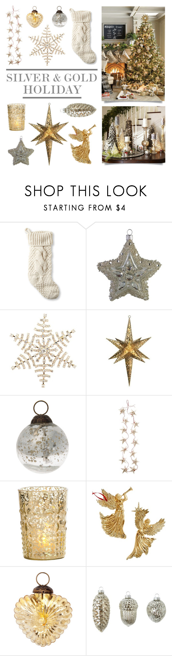 """Silver & Gold Holiday"" by lgb321 ❤ liked on Polyvore featuring interior, interiors, interior design, home, home decor, interior decorating, L.L.Bean, Nordstrom, Disney and Cultural Intrigue"