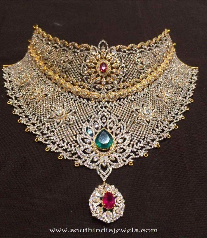 Gold And Diamond Jewellery Designs Indian Diamond Choker: Gold CZ Stone Choker Necklace