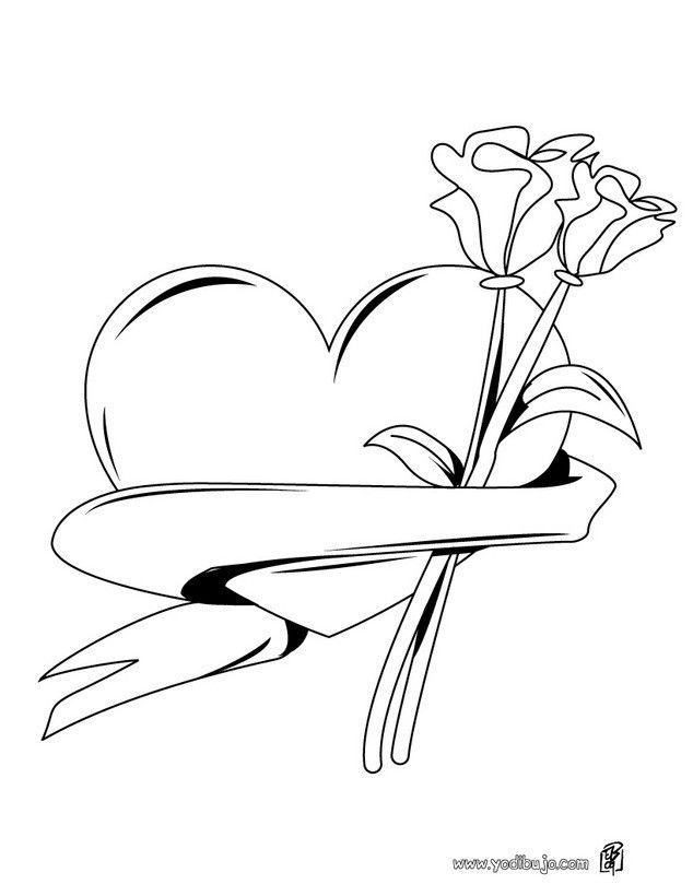Dibujo Para Colorear Corazon Y Flores Dibujos De Corazones