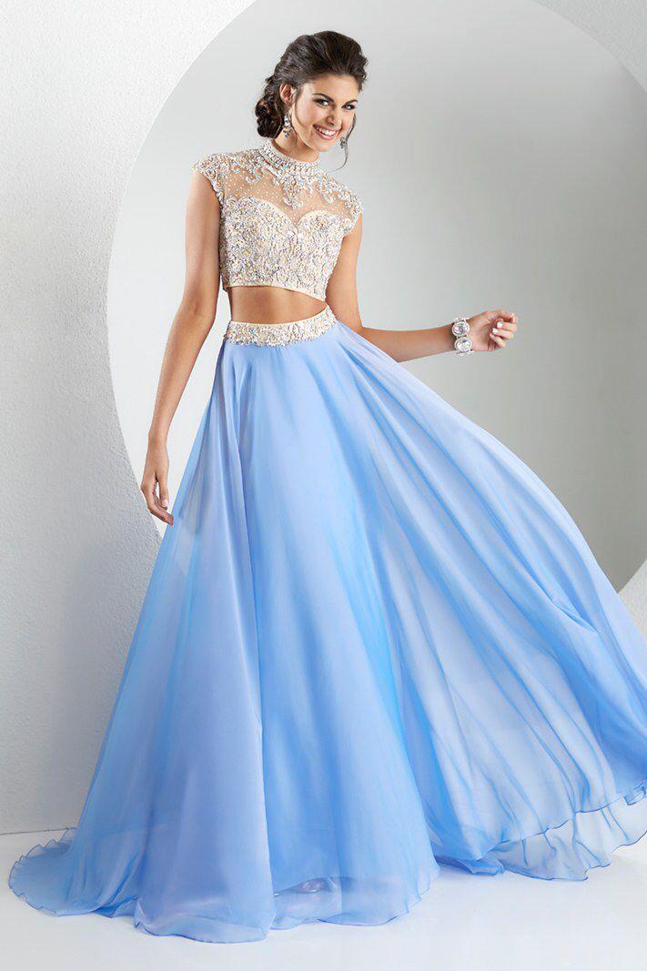 0c42fbf8f Blusa y falda larga 2 piezas elegante con brillantes color plateado con azul  celeste Teen Vogue