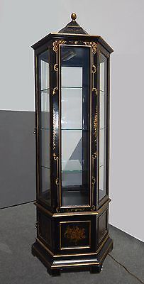 Vintage Oriental Asian Chinoiserie Black Gold Display Case Curio Cabinet Italy