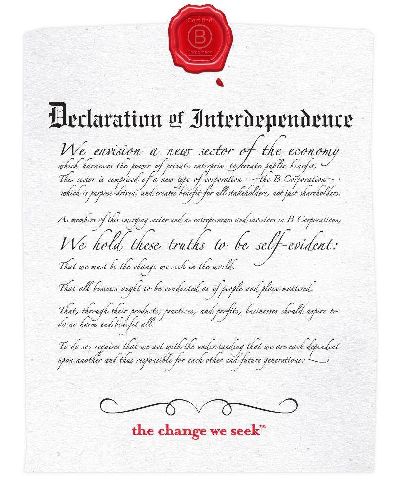 The b corp declaration leadership declaration social
