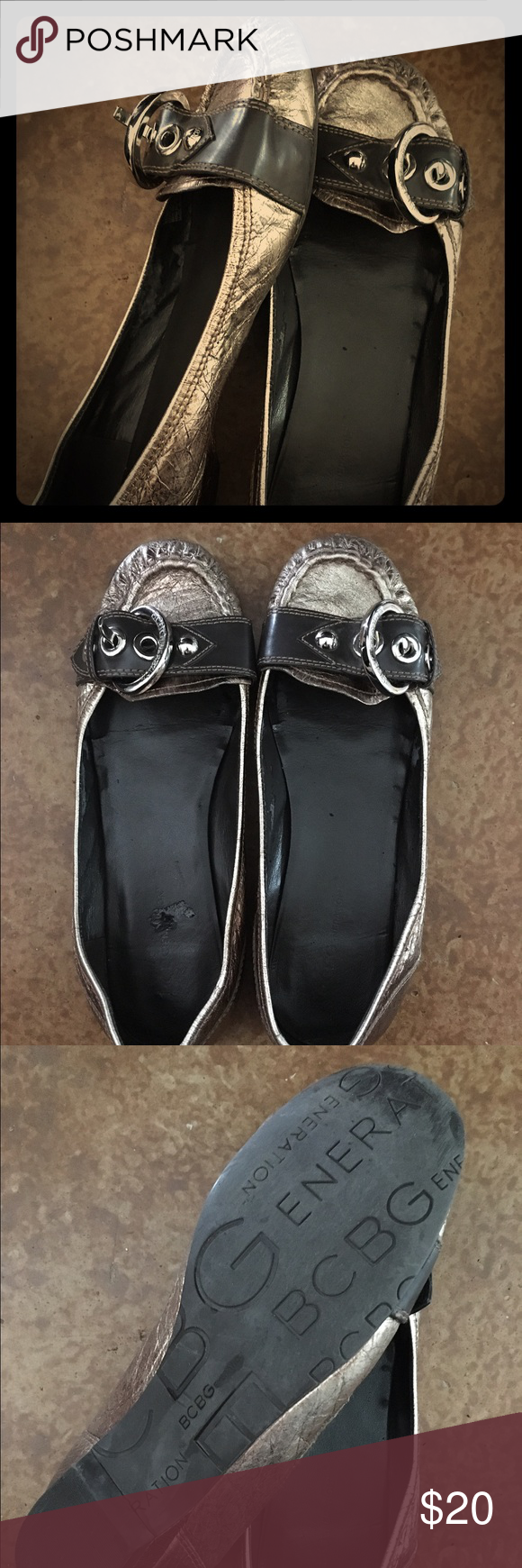 BCBGeneration Flats Brown, leather BCBG flats with gold front bucket closure. Good condition but inside of shoes do have a few blemishes. BCBGeneration Shoes Flats & Loafers