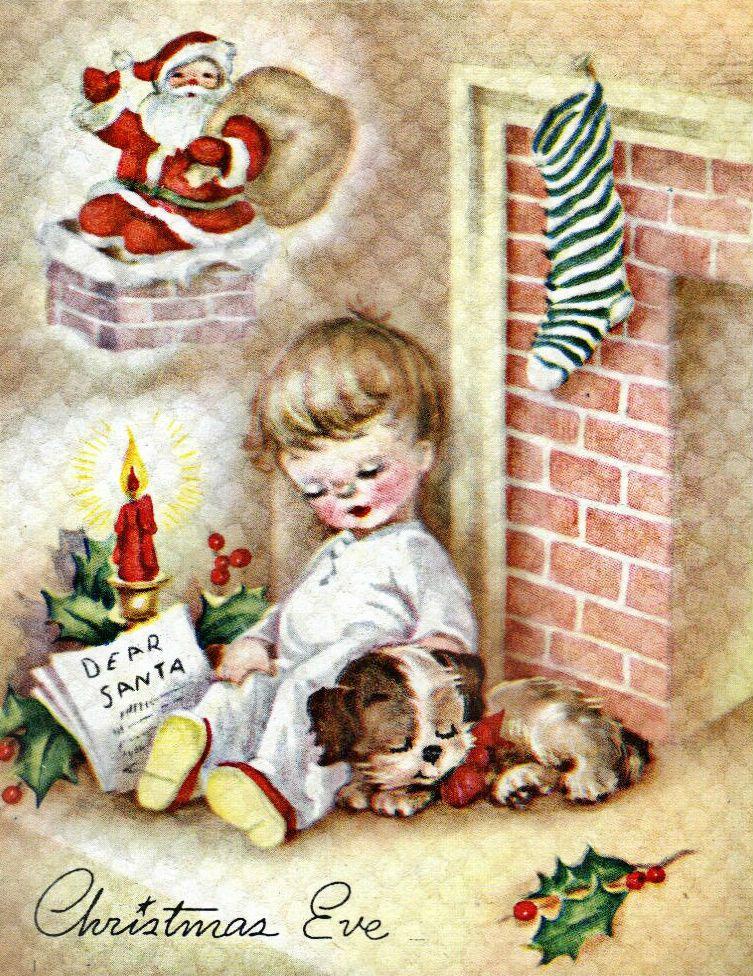 Christmas Eve Vintage Christmas Card Vintage Christmas Cards