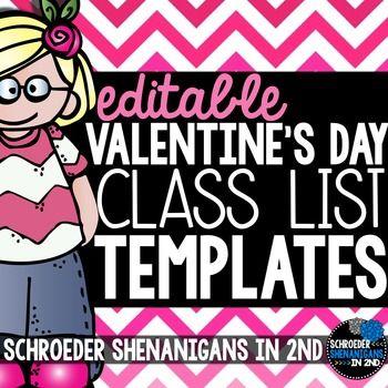 Valentine\u0027s Day Class List Teacher, Students and Activities - class list template