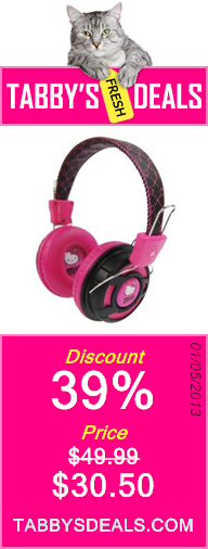 Hello Kitty Over the Ear Foldable Stereo Headphones $30.50