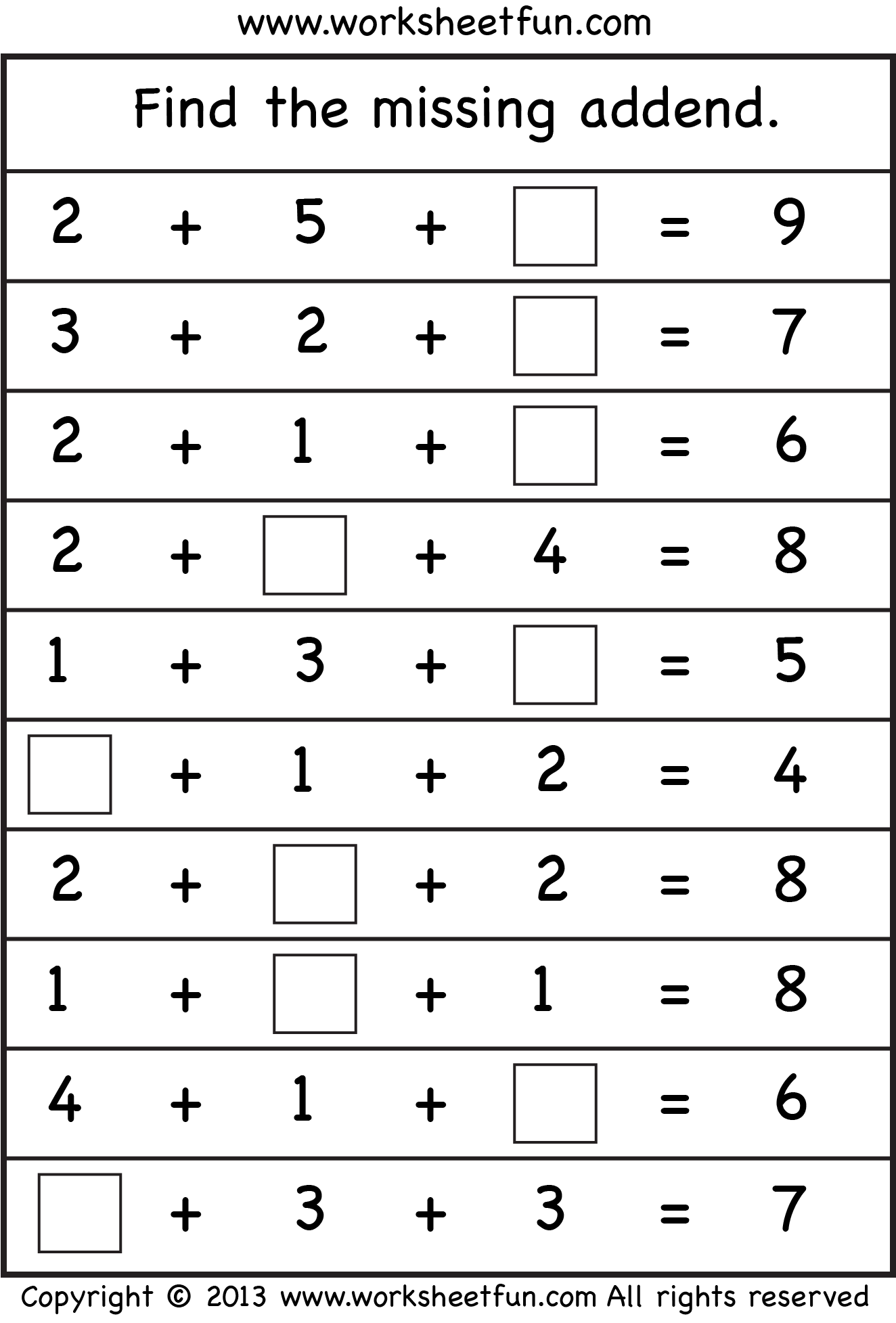 worksheet Addends Worksheets lots of math worksheets to print out school pinterest missing addend four free printable worksheetfun