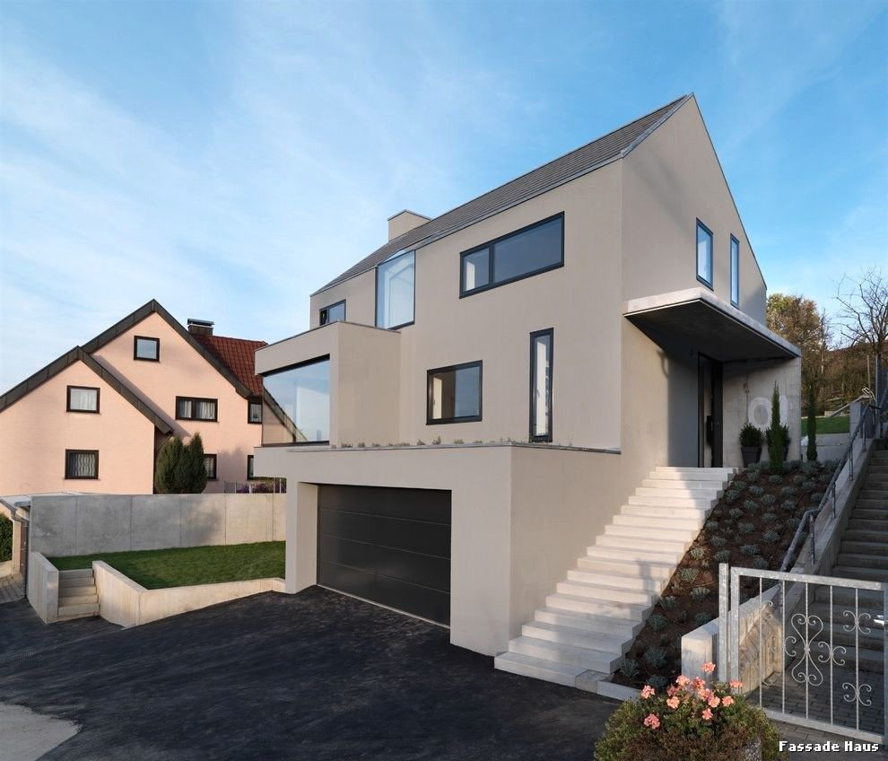 Gut bekannt Haus Modern Fassade Holz Und Avec Hausfassade Beige Weis Et Mit In HM49