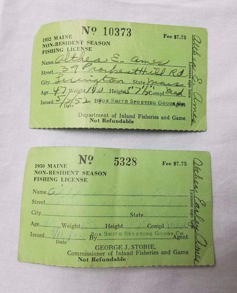 Vintage Lot 2 Maine Non Resident Season Fishing License 1950 1952