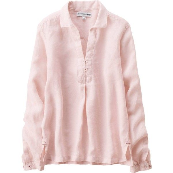 UNIQLO Women Idlf Linen Long Sleeve Shirt (39 CHF) ❤ liked on Polyvore featuring tops, long sleeve linen shirt, pink shirt, long sleeve button shirt, wrap top and linen tops