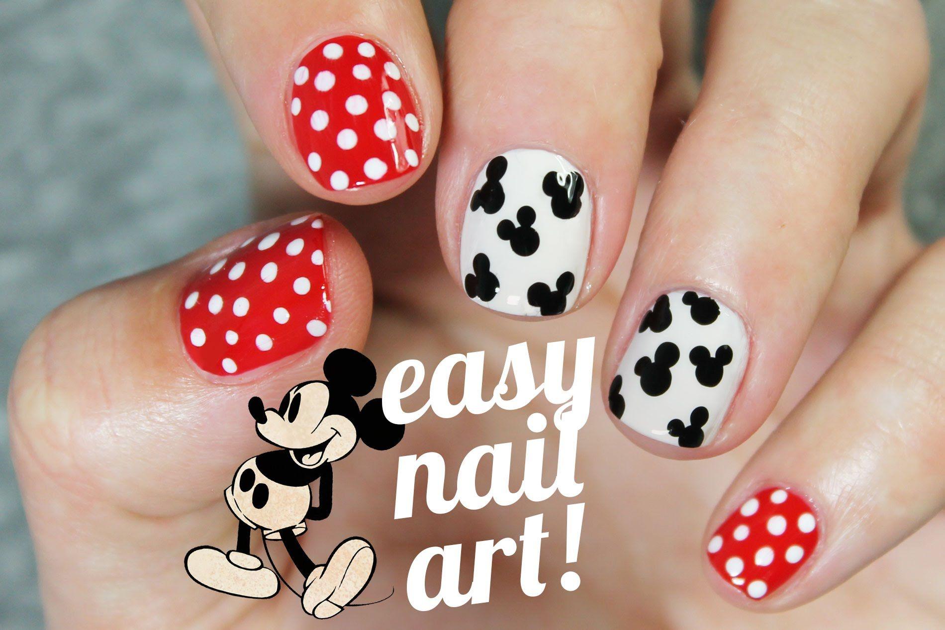 Diseño de uñas SUPER FÁCIL y rápido de Mickey Mouse | Uña decoradas ...