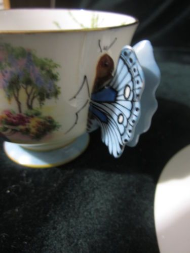 RARE Aynsley Cup Saucer Butterfly Handle Oriental Lady Floral Trees Boat | eBay