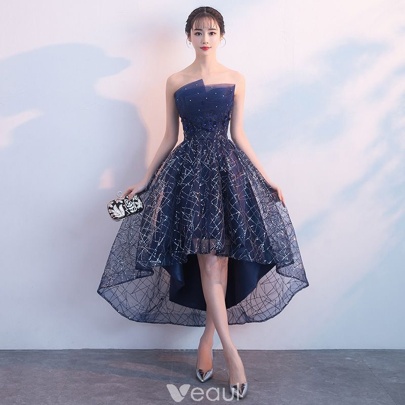 7a9a9cb54c0 Bling Bling Navy Blue Cocktail Dresses 2018 A-Line   Princess Strapless  Sleeveless Glitter Sequins Crystal Rhinestone Asymmetrical Ruffle Backless  Formal ...