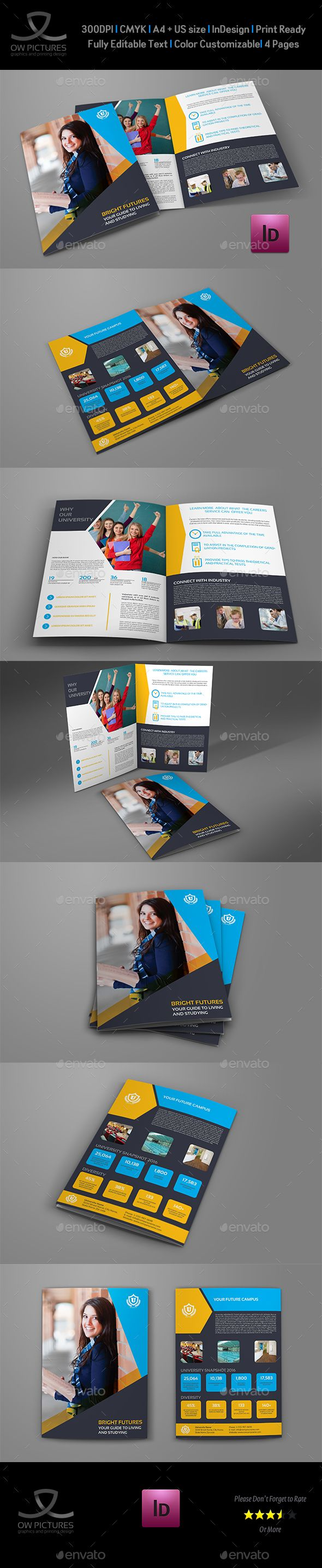 University  College BiFold Brochure Template  Brochure Template