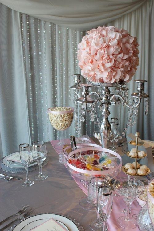 Art pink grey wedding decor reception love