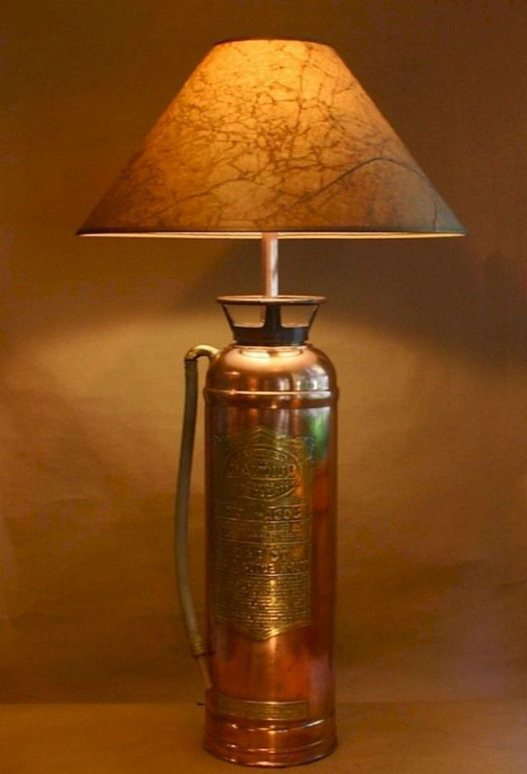 glass shade Vintage brass fire nozzle lamp