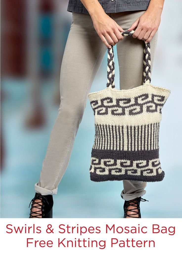 Swirls and Stripes Mosaic Bag Free Knitting Pattern in Red Heart ...