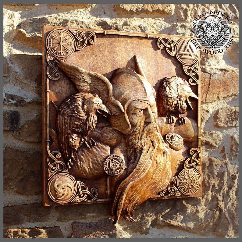 Odin Ravens Viking Mythology Icon Home Decor Norse Thor Wood Hugin Munin Pagan Gods Carving Heathen Asatru Celtic Norse Rune Wall Hanging Viking Art Viking Art Norse Nordic Artwork