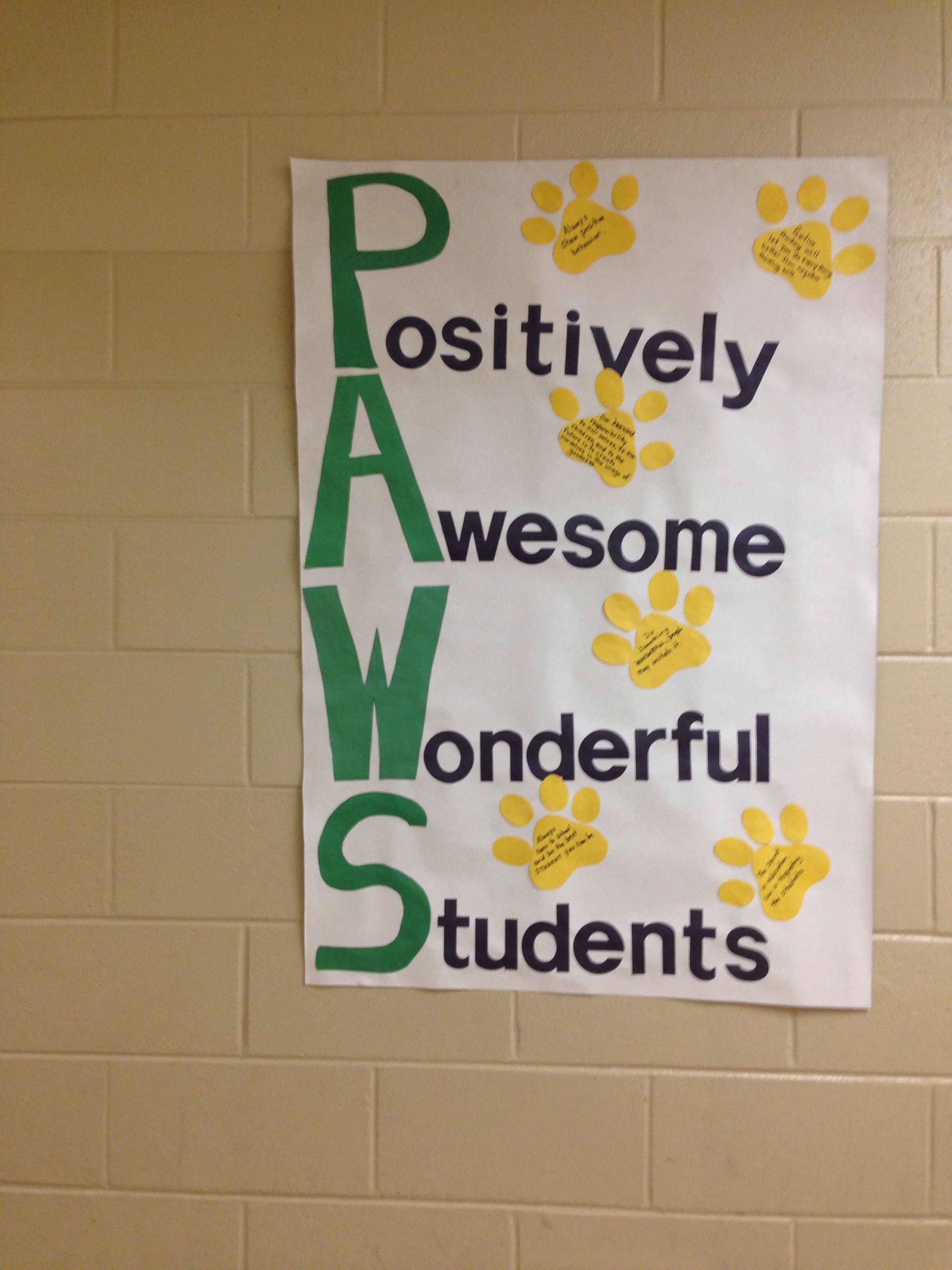 Acronym Paws Pbis School Fun Classroom Themes