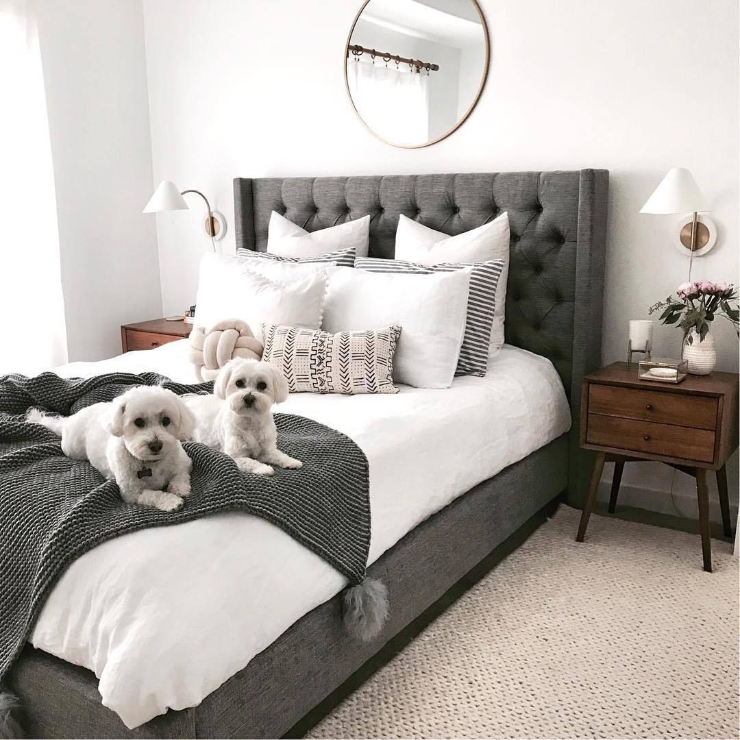 pinterest; @x10_jesss ♡  Bedroom inspiration grey, Upholstered