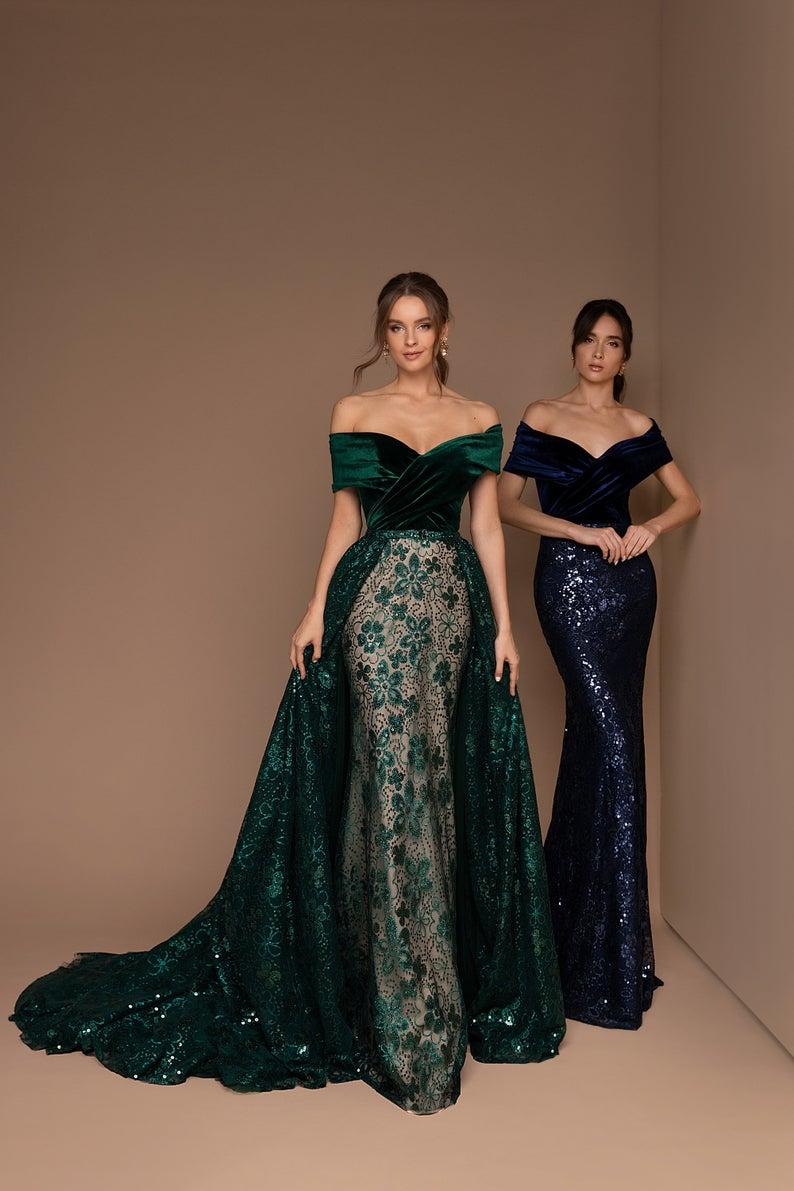 Off-Shoulders Maxi Dress, Bridesmaid Dress, Party
