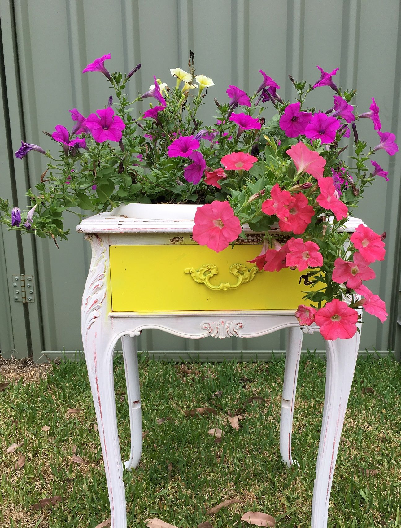 Stool Bedside Table: Up-cycled Old Bedside Table Into Planter