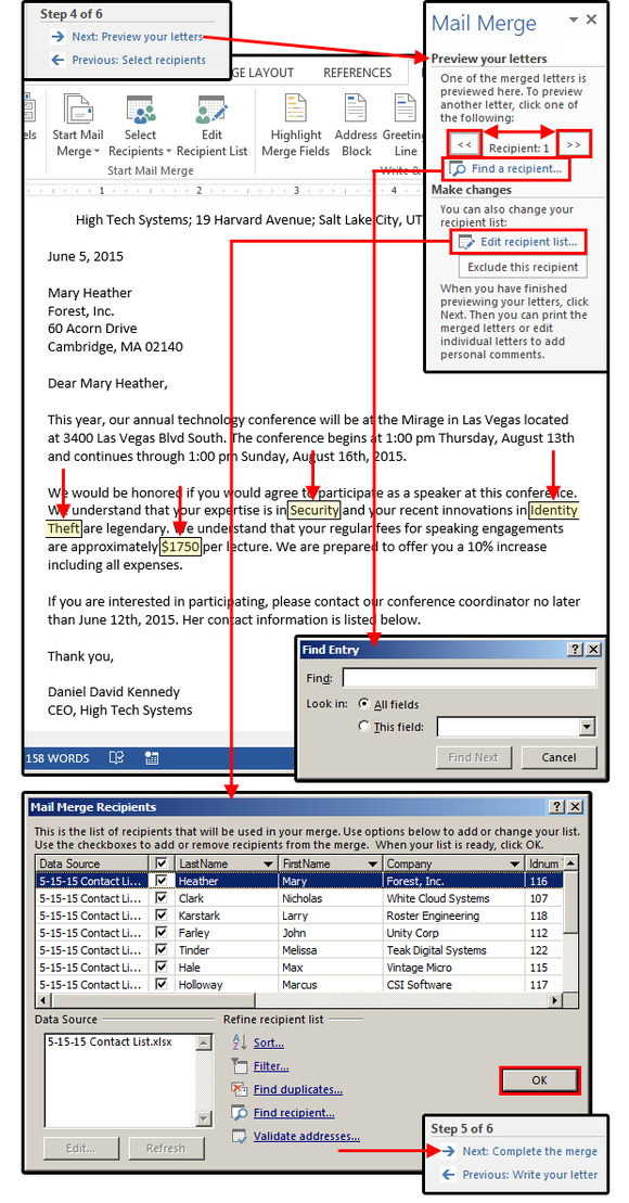 Figure7 Mail Merge Step 4 Preview Your Letters Mail Merge Excel Tutorials Microsoft Excel Tutorial