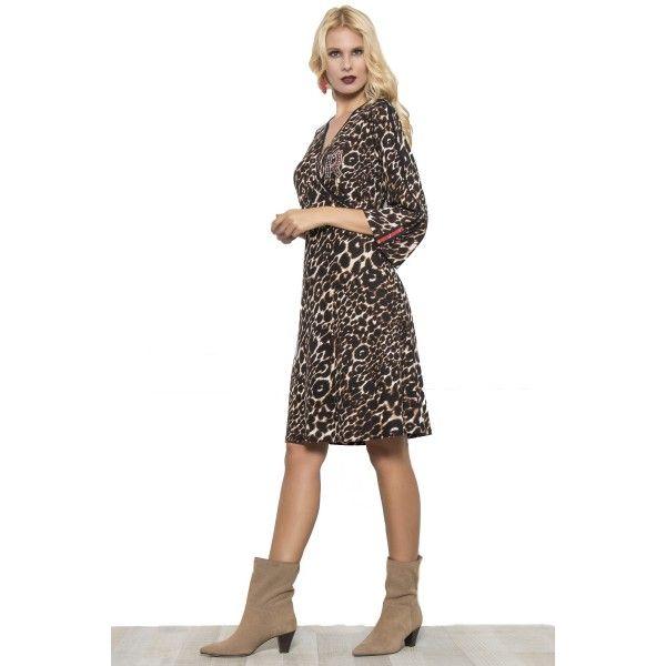 Φόρεμα midi κρουαζέ σε ζέρσεϊ λέοπαρ ύφασμα.  e0e219c92c1