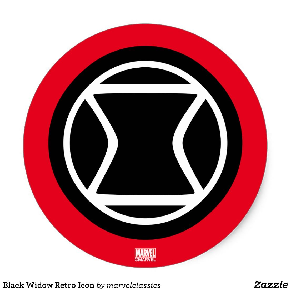 Black Widow Retro Icon Classic Round Sticker Zazzle Com Black Widow Icon Retro
