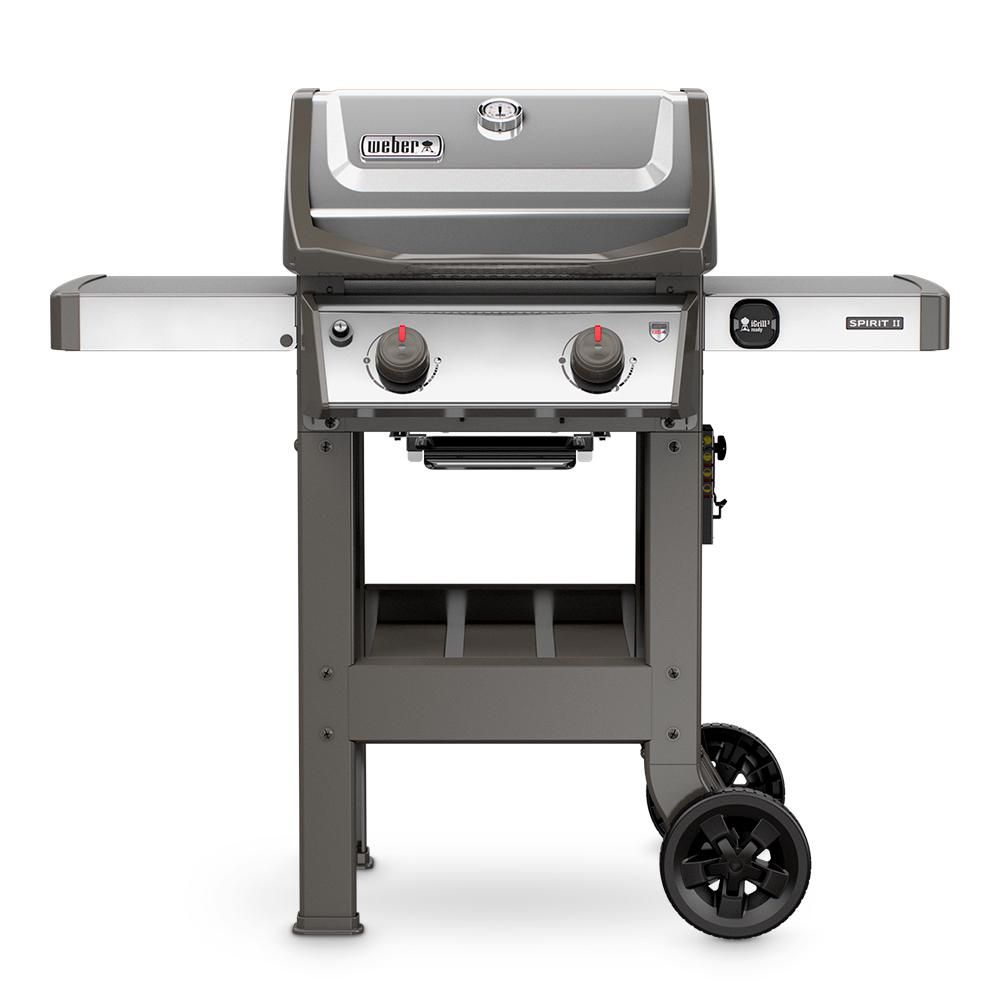 Weber Spirit Ii S 210 2 Burner Propane Gas Grill Stainless Steel 44000001 The Home Depot Natural Gas Grill Gas Grill Propane Gas Grill