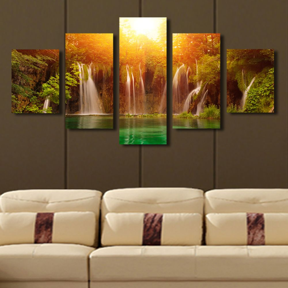 Waterfall Sunrise Landscape https://walldecordeals.com/5-panel-canvas-art-waterfall-sunrise-landscape-canvas-painting-picture-wall-art-painting-home-decoration-print-art-unframed/