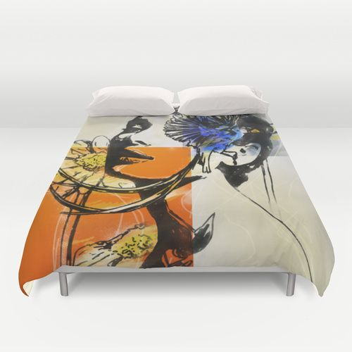 Audrey with marguerite Duvet Cover by SEVENTRAPS | Society6